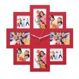 Variante Rot von 8er Wandgalerie mit Uhr