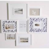 Thumbnail von Galerie-Bilderrahmen für 7 Fotos mit buntem Passepartout