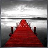 "Thumbnail von Gerahmte Kunst ""Footbridge red"" mit Alurahmen Alpha"