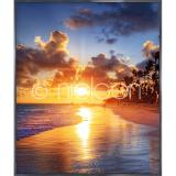 "Thumbnail von Gerahmte Kunst ""Sunset Beach"" mit Alurahmen Alpha"