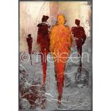 "Thumbnail von Gerahmte Kunst ""Abstract Figures Red"" mit Alurahmen Alpha"