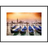 "Thumbnail von Gerahmte Kunst ""Gondolas moored"" mit Alurahmen C2"
