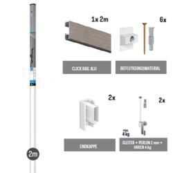 All-in-one-Kit Click Rail - Alu gebürstet
