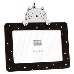 Schwarzer Fotorahmen mit Katzenmotiv