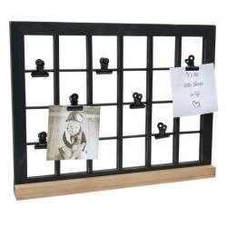 Bilderrahmen Galerierahmen in schwarz mit Klammern und Holzständer