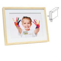 Bilderrahmen Holz-Bilderrahmen Voort mit weißem Holzpassepartout