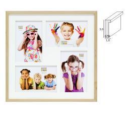 Holz-Bilderrahmen Blauberg für 4 Bilder mit weißem Holzpassepartout
