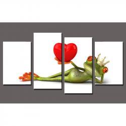 Bilderrahmen Keilrahmenbild Frosch 4-teilig