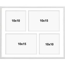 Bilderrahmen Aluminium Galerie-Bilderrahmen Amelia weiß 24x30 cm (4 Bilder)