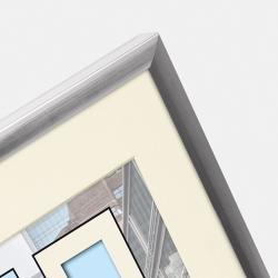 Bilderrahmen Kunststoff-Bilderrahmen Puro mit Passepartout silber