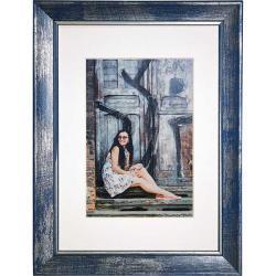 Bilderrahmen Holz-Bilderrahmen Aimee blau