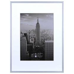 Bilderrahmen Alurahmen Manhattan mit Passepartout silber