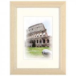 Bilderrahmen Holz-Bilderrahmen Capital Roma mit Passepartout Weiß