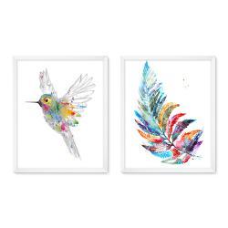 Bilderrahmen Galerie inkl. Poster Kolibri