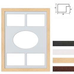 Bilderrahmen 5er Galerierahmen aus Holz in 30x40 cm