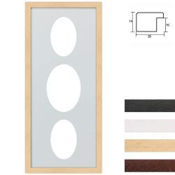 Bilderrahmen 3er Galerierahmen aus Holz in 25x60 cm Ovalausschnitt