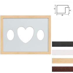 Bilderrahmen 3er Galerierahmen aus Holz in 30x40 cm Ovalausschnitt mit Herz