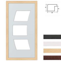 Bilderrahmen 3er Galerierahmen aus Holz in 25x50 cm Bogenausschnitt
