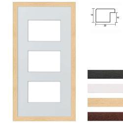 Bilderrahmen 3er Galerierahmen aus Holz in 25x50 cm