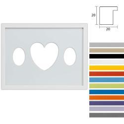 Bilderrahmen 3er Galerierahmen Top Cube in 30x40 cm Ovalausschnitt mit Herz