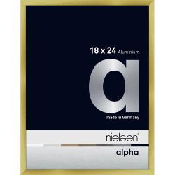 Bilderrahmen Alurahmen Alpha Brushed Gold 18x24 cm