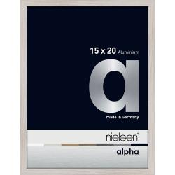 Bilderrahmen Alurahmen Alpha Eiche weiß (furnierte Oberfläche) 15x20 cm