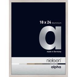 Bilderrahmen Alurahmen Alpha Eiche weiß (furnierte Oberfläche) 18x24 cm