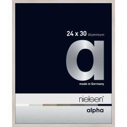 Bilderrahmen Alurahmen Alpha Eiche weiß (furnierte Oberfläche) 24x30 cm