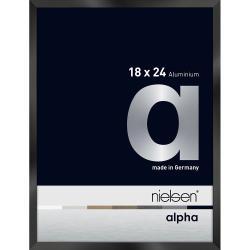 Bilderrahmen Alurahmen Alpha Schwarz glanz eloxiert 18x24 cm