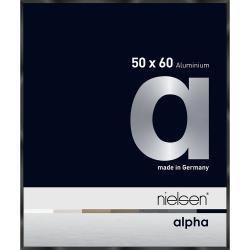 Bilderrahmen Alurahmen Alpha Schwarz glanz eloxiert 50x60 cm