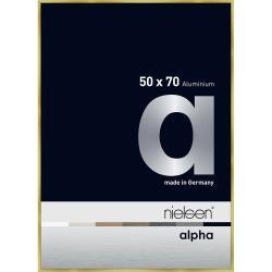 Bilderrahmen Alurahmen Profil alpha Brushed Gold 50x70 cm