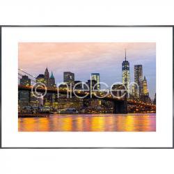 "Bilderrahmen Gerahmte Kunst ""Brooklyn Bridge at Night"" mit Alurahmen Alpha"