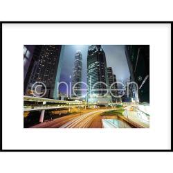 "Bilderrahmen Gerahmte Kunst ""Hongkong at Night"" mit Alurahmen C2"