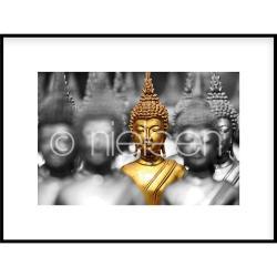"Bilderrahmen Gerahmte Kunst ""Buddha in gold"" mit Alurahmen C2"