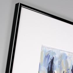 Bilderrahmen Alurahmen Profil R - Sonderzuschnitt schwarz glänzend