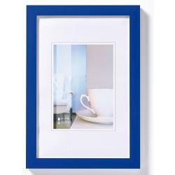 Bilderrahmen Kunststoffrahmen Ambience Blau, weiße Kante