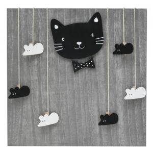 Holzwand Katz & Maus mit Wäscheklammern