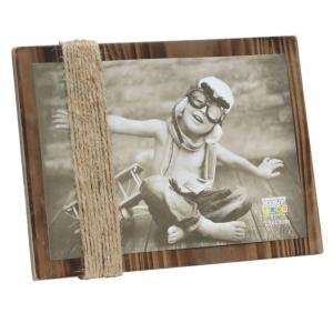 Brauner Bildhalter aus Holz mit Schnüren