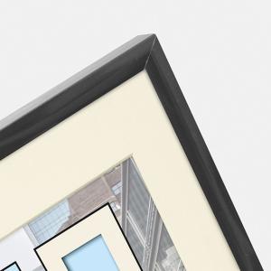Kunststoff-Bilderrahmen Puro mit Passepartout grau