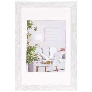 MDF-Holz-Bilderrahmen Modern mit Passepartout Weiß