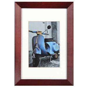 Holz-Bilderrahmen Umbria mit Passepartout rot