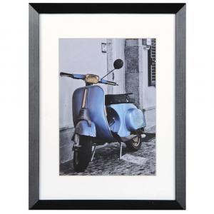 Holz-Bilderrahmen Umbria mit Passepartout schwarz