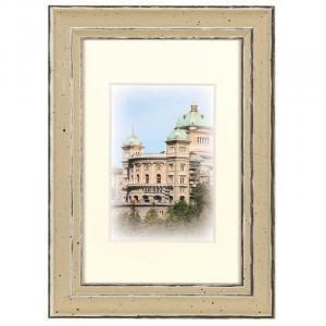 Holz-Bilderrahmen Capital Bern mit Passepartout Gold