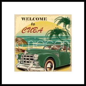 """Gerahmte Kunst """"Welcome to Cuba"""" mit Alurahmen C2"""
