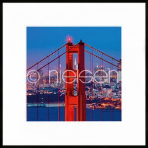 "Gerahmte Kunst ""Golden Gate Bridge"" mit Alurahmen C2"