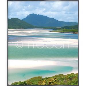 """Gerahmte Kunst """"White Haven Beach"""" mit Alurahmen Alpha"""