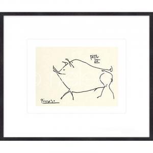 """Gerahmte Kunst """"Le petit cochon Picasso"""" mit Holzrahmen Quadrum"""