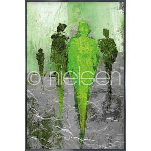 "Gerahmte Kunst ""Abstract Figures Green"" mit Alurahmen Alpha"
