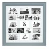 Thumbnail von Grauer Galerierahmen mit Passepartout für 17 Bilder Profil