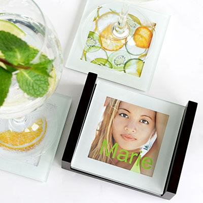 Glasuntersetzer f�r individuelle Fotos